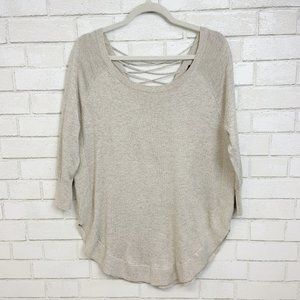 Express Sweaters - Express Laced Back Cozy Cream Knit Sweater Sz M